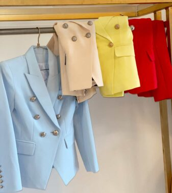 Button blue jacket