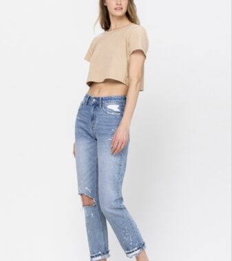 DISTRESSED BOYFRIEND CROP WITH PAINT SPLATTER DETAIL AND SINGLE CUFF