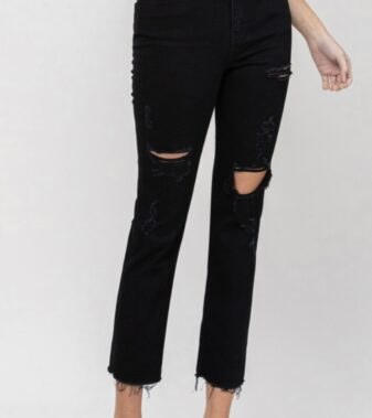 HIGH RISE DISTRESSED RAW HEM CROP STRAIGHT