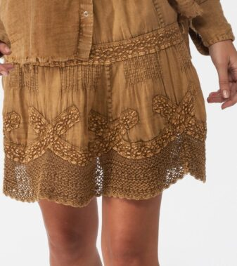 Coconut Short Washed Laces Skirt